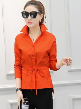 Spring New 3 Colors Single-breasted Tying Waist Blouse