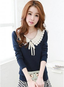 Lovely Girl Fashion Lace Doll Collar Long Sleeve Cotton T-shirt