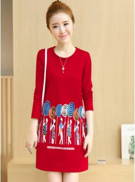 Wholesale Winter 3 Colors Printings Thick Cotton Dress