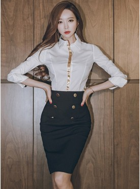 Fashion OL Shirt Collar White Blouse with Double Skirt