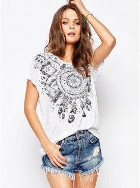 2017 Wholesale Retro Flowers Round Neck T-shirt