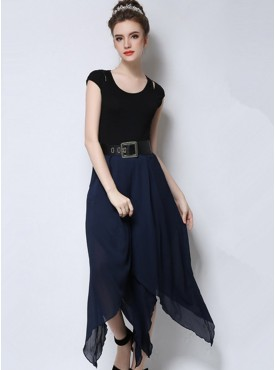 Europe Street Fashion 2 Colors High Waist Wide Legs Cropped Pants