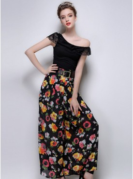 Hot Stylish 2 Colors Flowers High Waist Wide Leg Long Pants with Belt