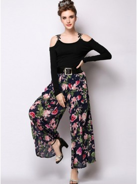 Europe Fashion 2 Colors High Waist Wide-legs Flowers Long Pants with Belt