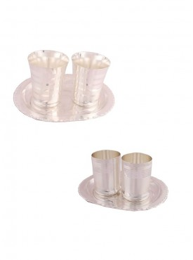 2 Premium Patta Glass Set with Oval Tray and 2 Premium Glass Set with Oval Tray