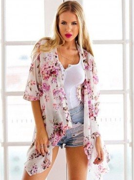 Wholesale Fashion Flowers Mid-sleeve Chiffon Loosen Blouse