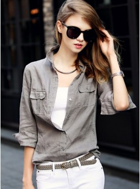 Europe Fashion New Turn-down Loosen Simple Cotton Blouse