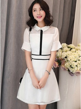 Charm Fashion Doll Collar Flare Sleeve Plaids Hollow Out Dress
