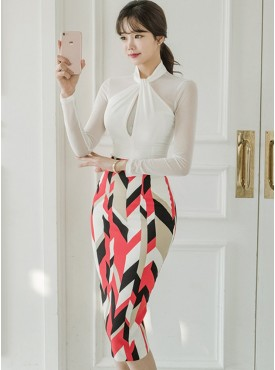 Fashion OL Halter Slim Blouse with Color Block Long Skirt