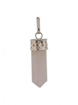 Natural Healing Rose Quartz Pendent - Pencil