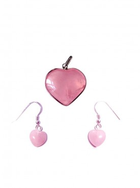 ByCue Rose Quartz Pendent And Earrings