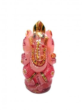 ByCue Rose Quartz Painted Ganesha 4 Inch