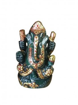 ByCue Painted Green Ganesha Idol