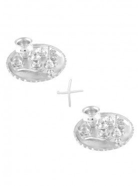 GS Museum Silver Plated GL 8 inchi Pooja Thali 2 Set