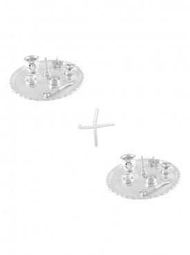 GS Museum Silver Plated GL 11 inchi Pooja Thali 2 Set