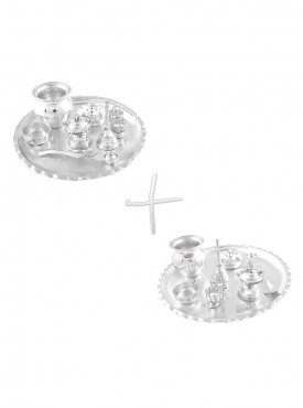 GS Museum Silver Plated GL 8 inchi  GL 10 inchi Pooja Thali Set