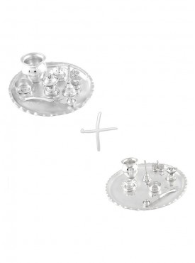 GS Museum Silver Plated GL 8 inchi  GL 11 inchi Pooja Thali Set