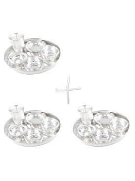 GSM Silver Plated 3 Dinner Set (Size-25 CM)