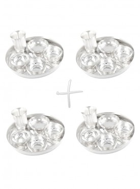 GSM Silver Plated 4 Dinner Set (Size-25 CM)