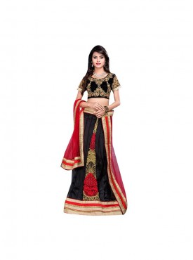 Viva N Diva Black Color Net Lehenga.