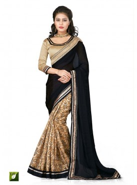 Tulsi Mantra Satin Chiffon Saree