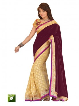 Tulsi Mantra 9000 Velvet Champion Gold Butti Saree