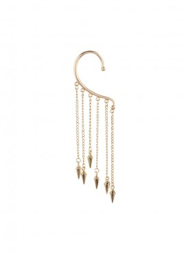 Fayon Contemporary Statement Golden Tassels With Punk Spikes Ear cuff