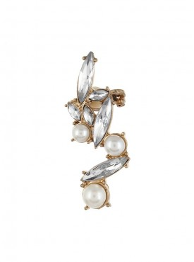 Fayon Contemporary Statement Crystals and Pearl Ear cuff for Single ear