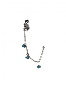 Fayon Weekend Casual Sea Horse Charms with Blue beads Ear cuff for Single ear
