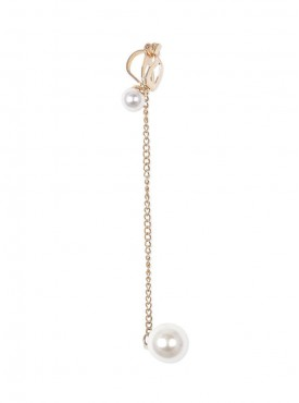 Fayon Funky Fashion Two Pearls connected with golden chain Ear cuff For Single Ear