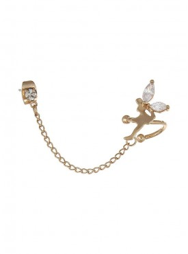 Fayon Weekend Casual  Crystal Fairy Connected With Golden Chain to Ear stud Single Ear cuff