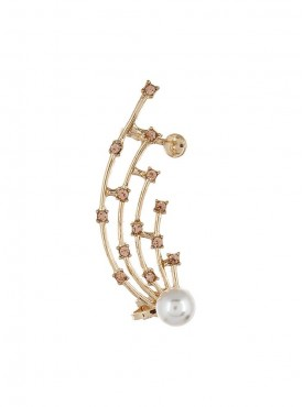 Fayon Fabulous Statement White Pearl and Peach Rhinestone Ear cuff For Single Ear