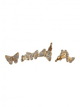 Fayon Party Style Diva Golden Butterflies Crystal Ear cuff For Single Ear cuff