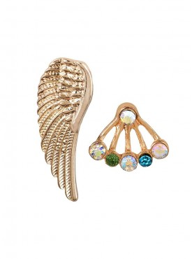 Fayon Chic Stylish Golden Wing With Multicolor Rhinestones Ear cuff For Single Ear cuff