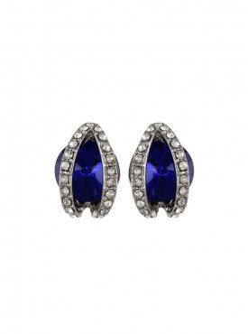 Fayon Daily Casual Work Double Studded Blue Crystal Stud Earrings