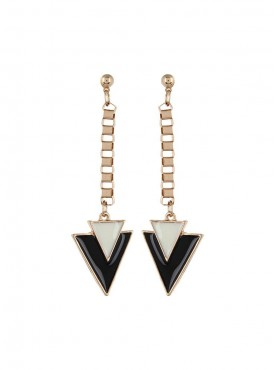 Fayon Party Style Diva Black Cream  Arrow Triangle Drop Earrings