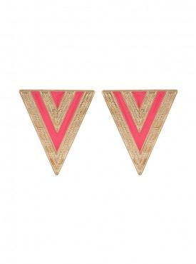 Fayon Fashion Statement Pink and Golden Hot Triangle Stud Earrings