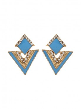 Fayon Daily Casual Work Blue Triangle Enamel Stud Earrings