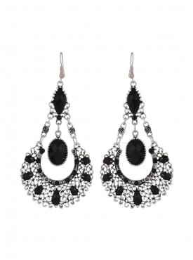 Fayon Chic Stylish Antique Silver  Black Drop Earrings