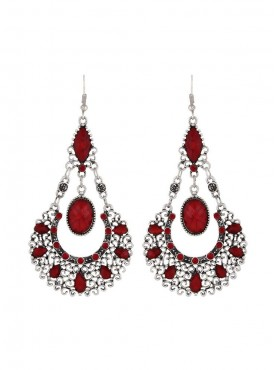 Fayon Weekend Party Antique Silver  Red Drop Earrings