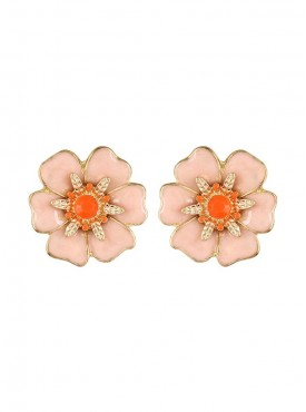 Fayon Weekend Casual Pink Spring Flower Stud Earrings