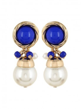 Fayon Trendy Costume Blue and White Pearl Drop Earrings