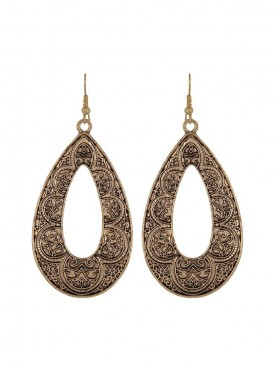Fayon Daily Casual Work Antique Carved Drop Earrings