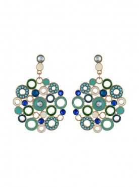 Fayon Chic Stylish Turquoise Bubble Enamel Circle Chandelier Earrings