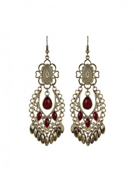 Fayon Weekend Casual  Antique Style Red Gemstone Chandelier Earrings