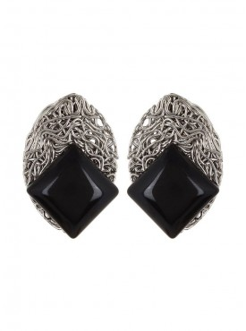 Fayon Daily Casual Work Black Square Gemstone Stud Earrings