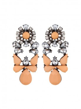 Fayon Party Style Diva Orange Rhinestone and Crystal Drop Earrings