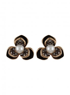 Fayon Trendy Costume Vivid Black Flower with Pearl Stud Earrings