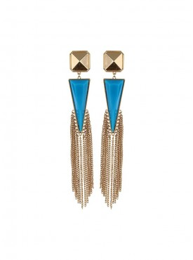 Fayon Designer Modern Blue Crystal with Tassel Chandelier Earrings