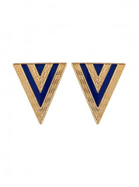 Fayon Daily Casual Work Blue and Golden Triangle Stud Earrings